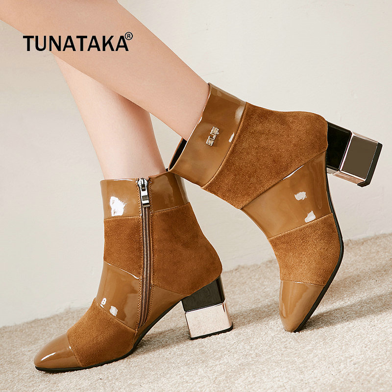 все цены на Suede Comfort Sqaure High Heel Zipper Woman Ankle Boots Fashion Pointed Toe Dress Boots Woman Black Brown Amry Green