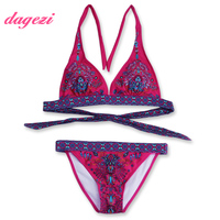 Women's Purple Triangle Wrap Bikini Set Retro Halter Swimwear Bandage Pattern Swimsuit Padded Female Summer Beach Bathing Suit