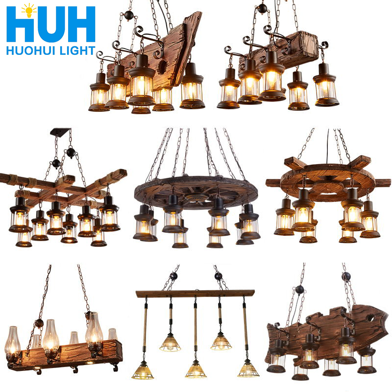 Retro Bar Industrial Wind Chandelier Loft Solid Wood Personality Restaurant Bar Industrial Coffee Shop Industrial Chandelier|Pendant Lights| |  - title=