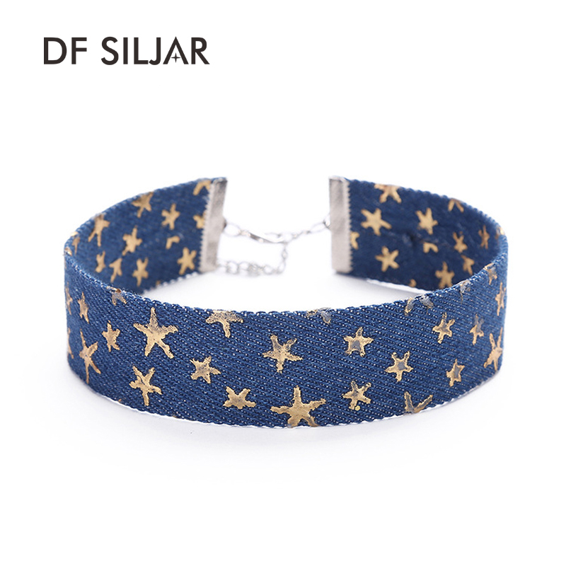 Blue Simple Jeans Denim Wide Necklace Women Short Collar Choker Necklace Tattoo Gold Star Print 2017 Collier Ras Du Cou Y1760