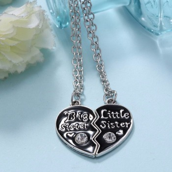 1 Pair Big Sis Big Sister Little Sister Best Friends Forever Vintage Silver Broken Heart Necklace Sister Gift leather