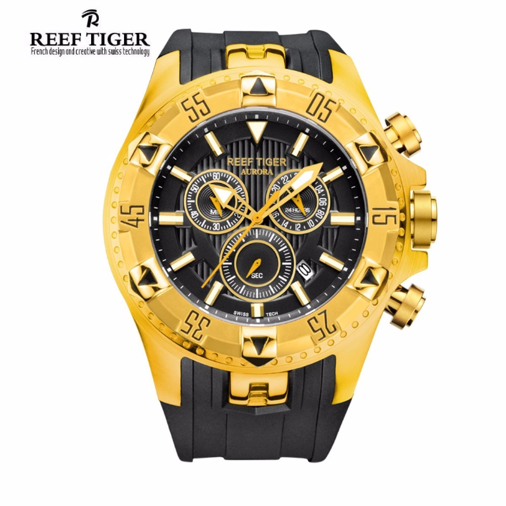 Reef Tiger Brand Sport Men Watches Fashion Waterproof Chronograph Date Yellow Gold Rubber Strap Quartz Watch Relogio Masculino reef tiger brand men s luxury swiss sport watches silicone quartz super grand chronograph super bright watch relogio masculino