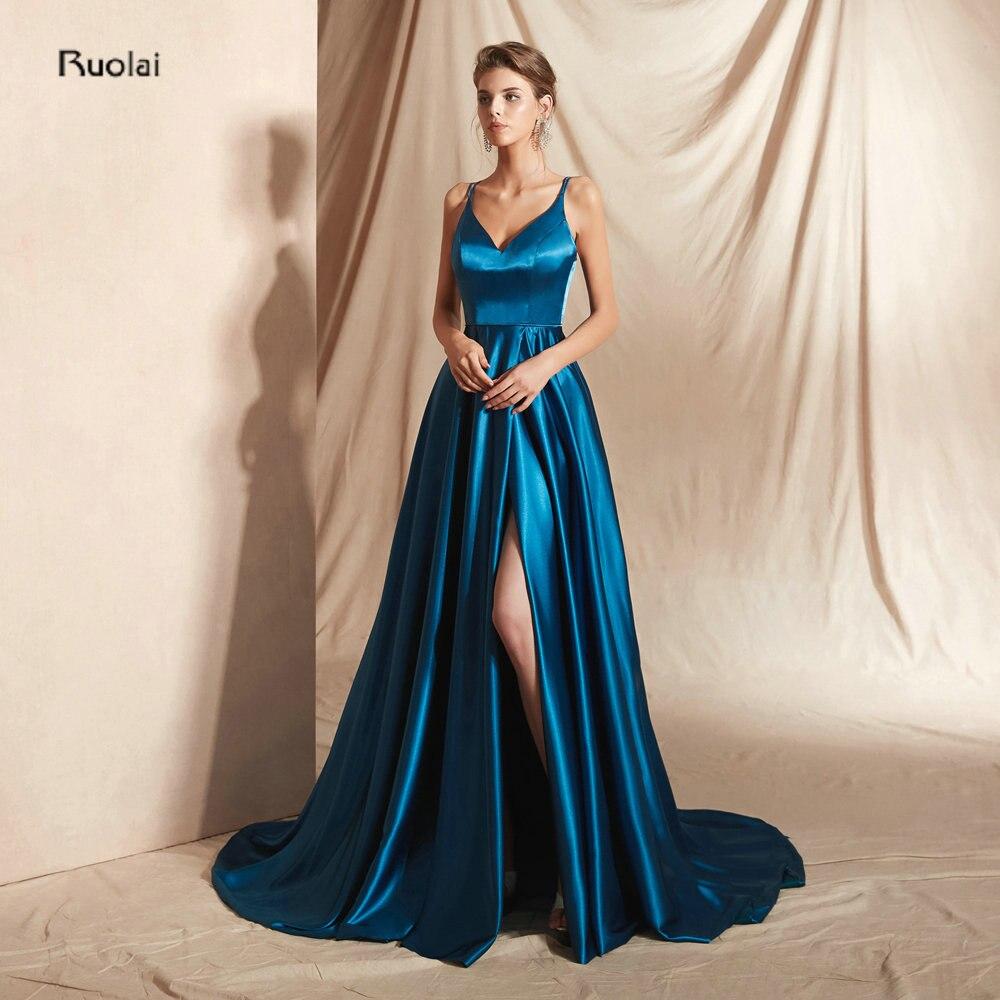 Elegant Reflected material   Evening     Dress   Long abendkleider Front Slit Spaghetti Strap   Evening   Gown Formal   Dress   robe de soiree