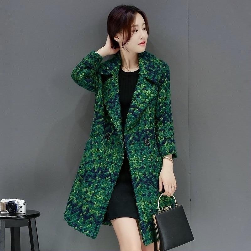 Taille green Femmes Automne Al182 Teaegg Long And Casual White Famale Femme Vert Hiver Outwear Plus La 3xl Laine Manteau Parka De Black ZpnBnWx1