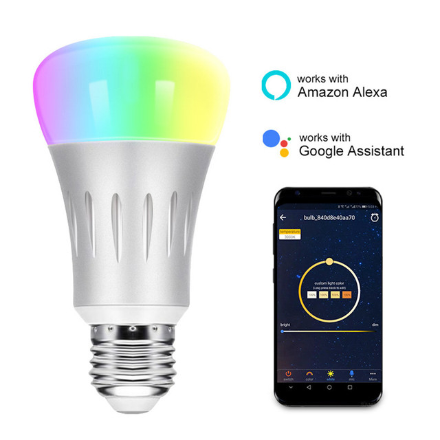 HZFCEW 7W Smart RGBW WiFi Control Bulb Connect Alexa and Google Home Voice and APP Control Long-Range and Group Control CR008