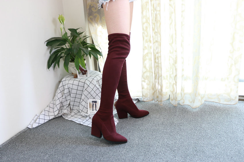 Women Hoof Heels Winter Shoes Pointed Toe Sexy Elastic Fabric Boots 58