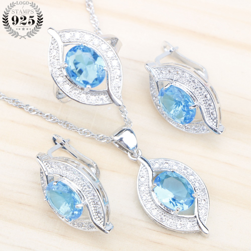 Blue Zircon 925 Sterling Silver Jewelry Sets Women Wedding Earrings With Stones Necklace&Pendant /Rings Set Jewelery Gift Box