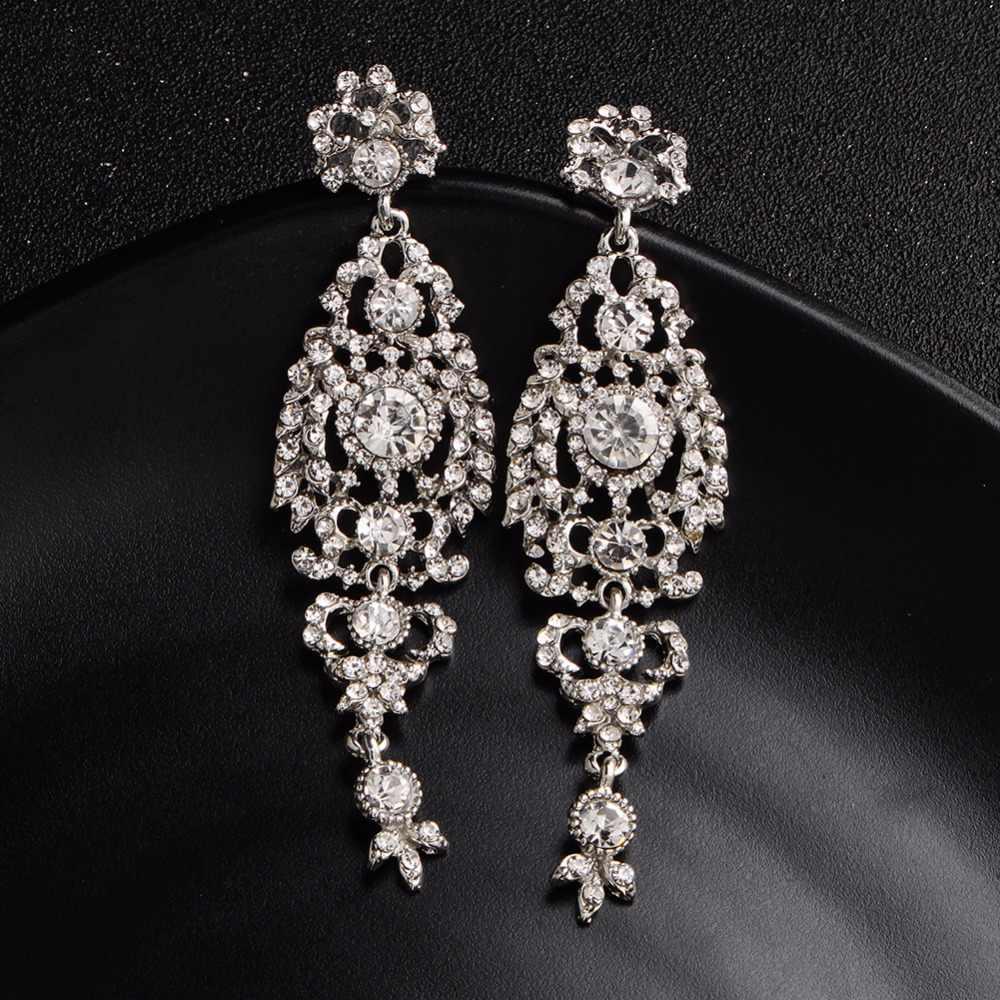 Miallo แฟชั่นออสเตรียคริสตัลเจ้าสาวยาวต่างหูสำหรับผู้หญิงงานแต่งงานใหญ่ต่างหูสำหรับเจ้าสาว Bridesmaids