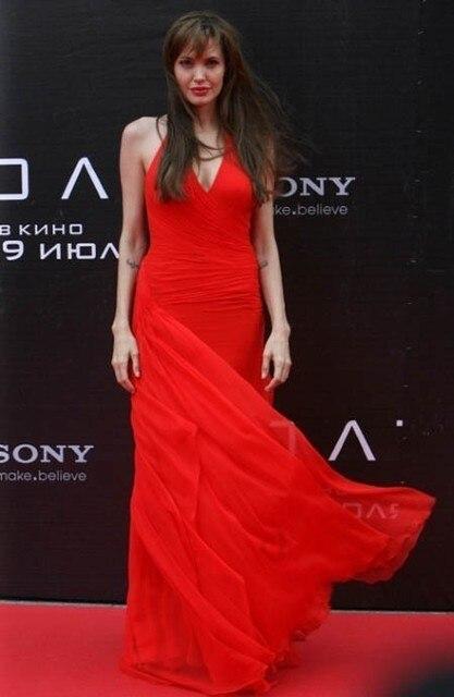 2017 vestidos de festa vestido longo Angelina Jolie Celebrity Jurken V-hals Halter Lange Rode