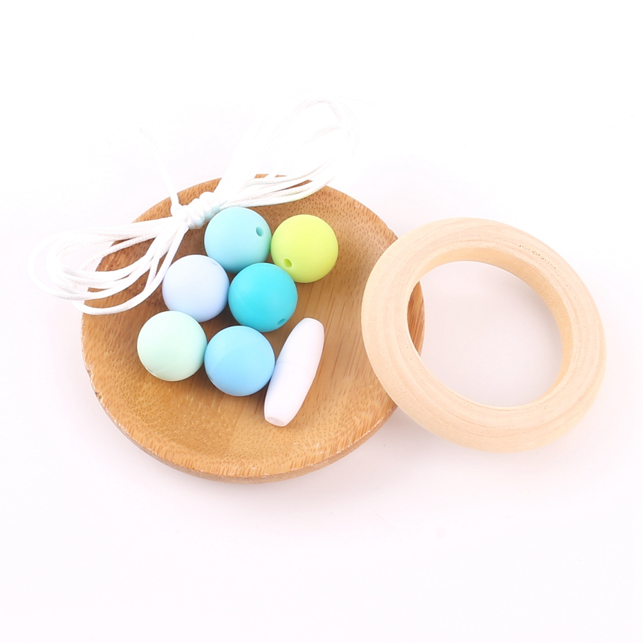 Wooden Teether Ring DIY Jewelry Necklace Handmade Set Blue Silicone Beads Safe Baby Birth Gifts Children Baby Dental Care