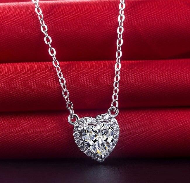 新しい到着ハートシェイプ2カラットリアルsona合成ダイヤモンド婚約ペンダントネックレス最高の結婚記念日のための彼女  グループ上の ジュエリー & アクセサリー からの ペンダント の中 3