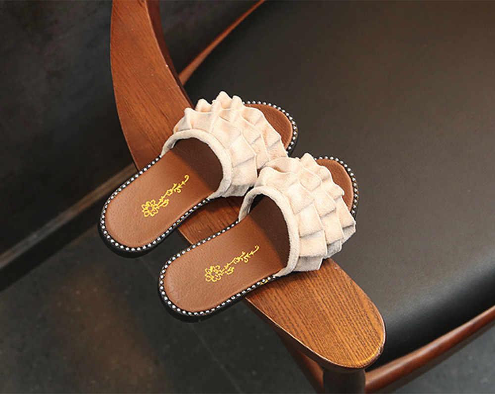 MUQGEW 4colors beach slippers girls Toddler Girls Beach Princess Shoes Ruffles Casual Summer Sandals Slippers#G9