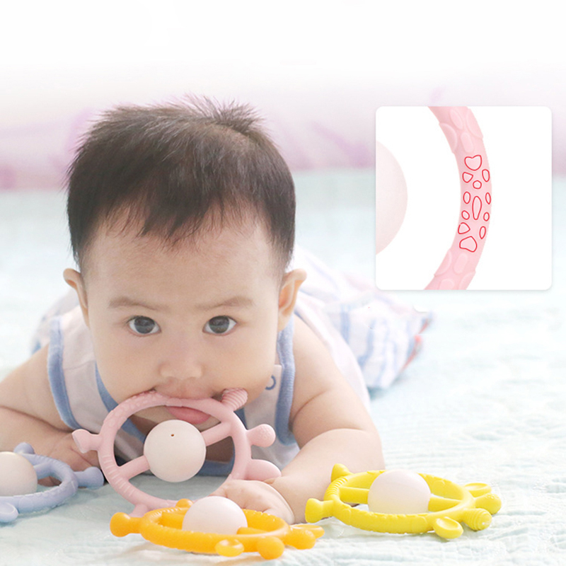 Blue/pink/yellow Infant Cartoon Hand Grab Rattle Teether Toy Baby Teething Silicon Teether Silicone Teething TOYS FOR BABY
