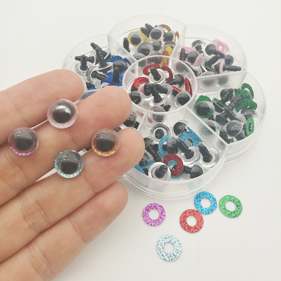 10mm 70pcs Shinning Plastic Doll Eyes Safety Eyes For Teddy Bear Stuffed Toys Snap Animal Scrapbooking Puppet Dolls Craft Eyes