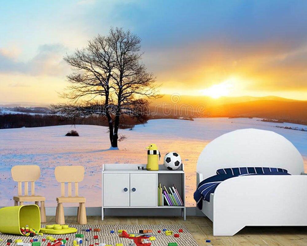 Paysage d'hiver dans la neige nature 3d papier peint mural papel de pared, salon canapé TV mur chambre papiers muraux décor à la maison