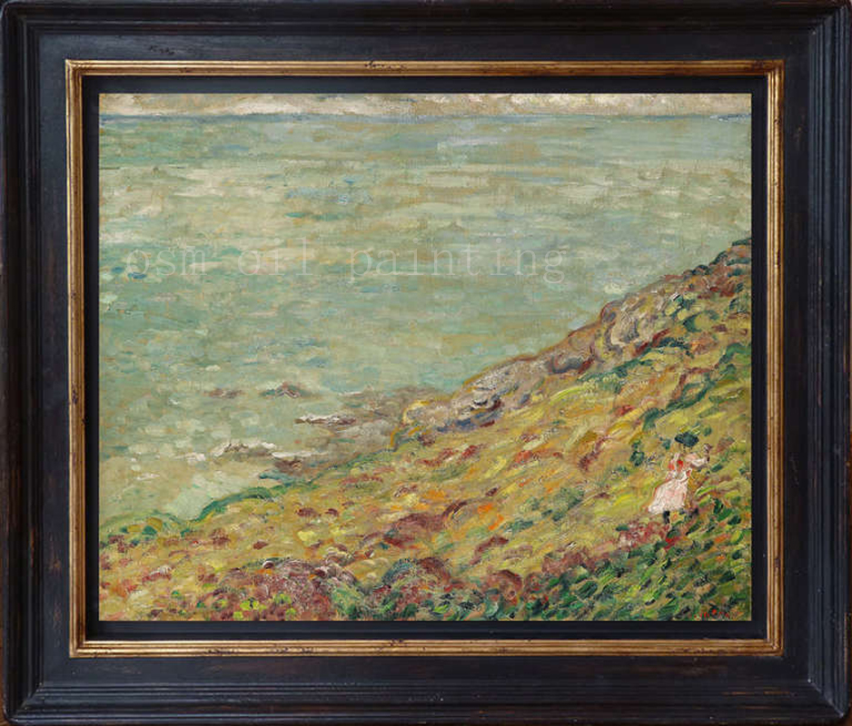 Best Sale Hand-painted Impression Seascape Oil Painting on Cabvas a Girl Walk Along the Flowers Wall Artwork Home Decor Picture