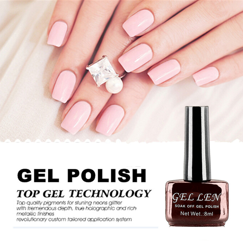 Gel Len Pink UV Gel Nail Polish French Manicure Nail Tips 8ml Long ...