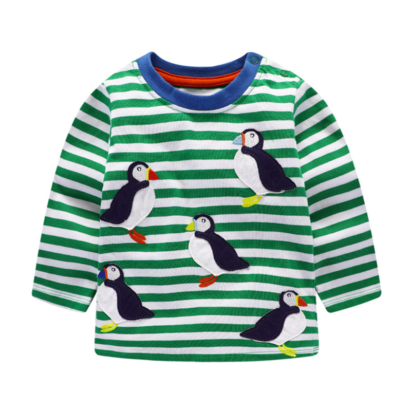 2018 New boys Girls Tshirt baby clothes autumn cotton long sleeve striped applique child clothes fashion o-neck kids Tees Tops pudcoco baby girls kids casual long sleeve hoodies clothes rainbow striped o neck pullover sweatshirt tops