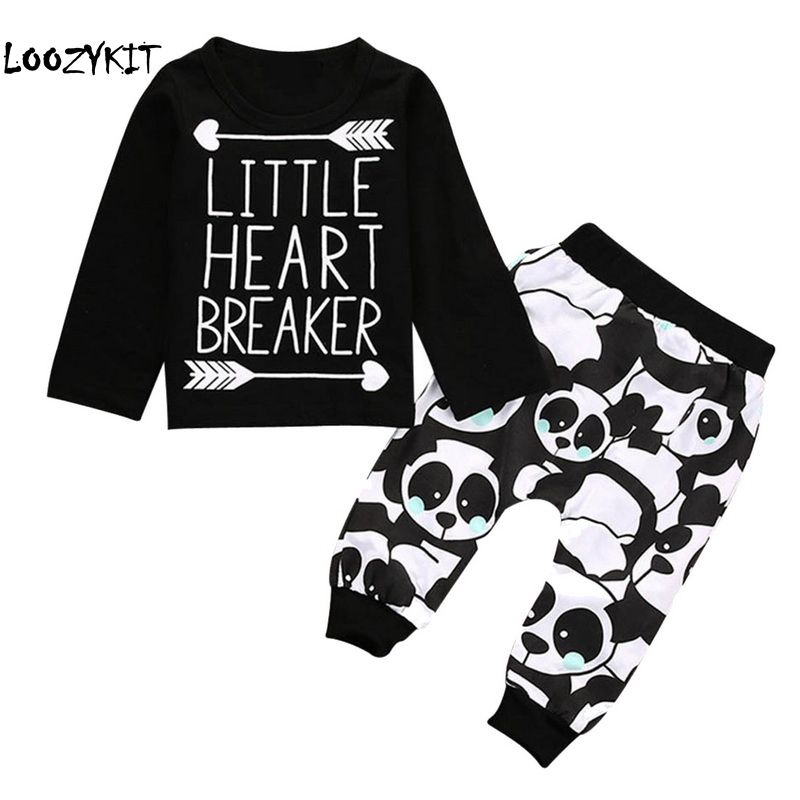Mother & Kids Panda Print Trousers Baby Boys Clothing Suits Sufficient Supply Genteel Loozykit Newborn Baby Boy Clothes Sets Infant Long Sleeve Arrow Letter T-shirt
