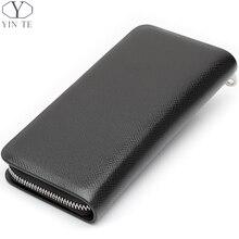 YINTE Men's Wallets Leather Clutch Bag Wallet Phone Cash Holder Pocket Bag Black Color Zipper Men's Bag Portfolio T1853