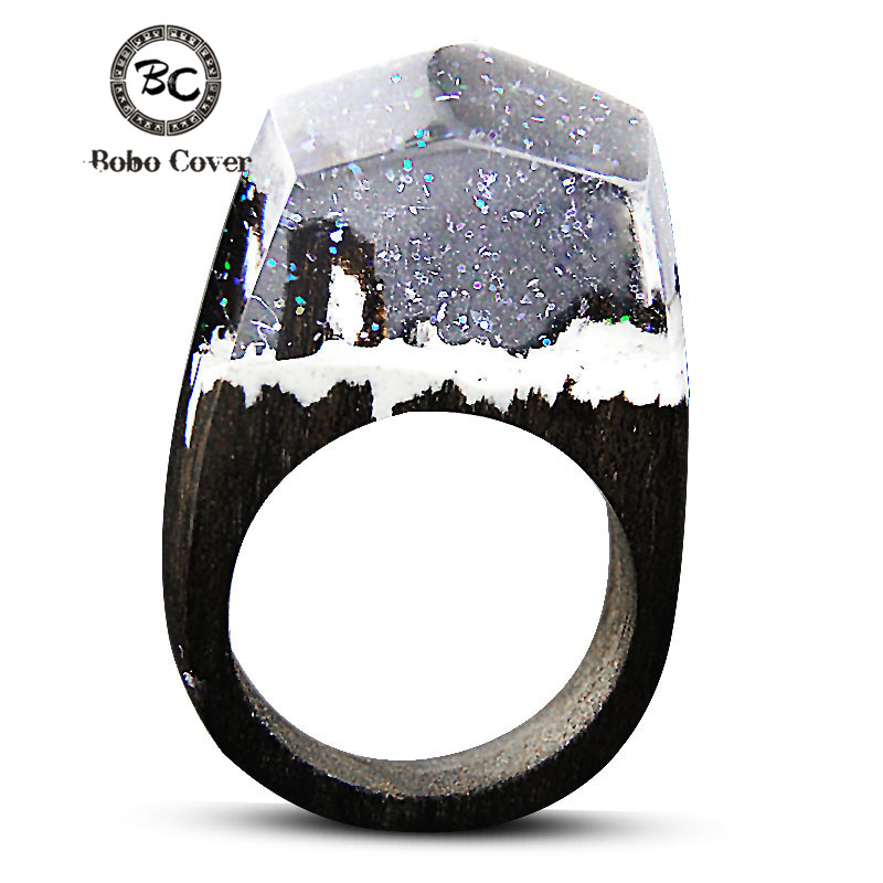 2017 Resin Wood Rings For Women Magic Forest Wooden Ring Men Jewelry Fashion White Ice Snow Rectangle Gift 100% Guarantee