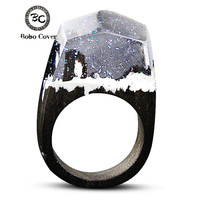 2017 Resin Wood Rings For Women Magic Forest Wooden Ring Men Jewelry Fashion White Ice Snow Rectangle Gift