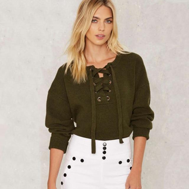 Dark Green Sweater Women Loose Lace Up Jacket Women Crop Top ...