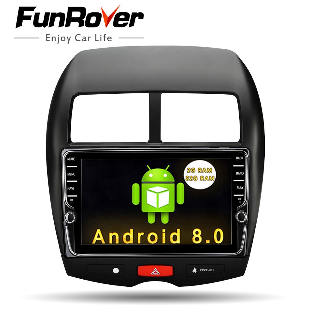 Funrover 2 din android Car DVD Player multimedia For Mitsubishi ASX 2011-2015 Peugeot 4008 Citroen C4 Aircross GPS Radio Stereo купить в Москве 2019