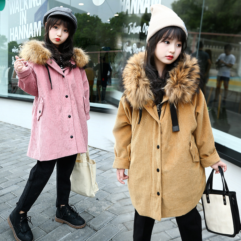 2017 Winter New Kids Girls Fur Collar Down Coat Hooded Parkas Children Overcoat Thicken Warm Long Cotton-padded Jacket Outerwear winter jacket female parkas hooded fur collar long down cotton jacket thicken warm cotton padded women coat plus size 3xl k450