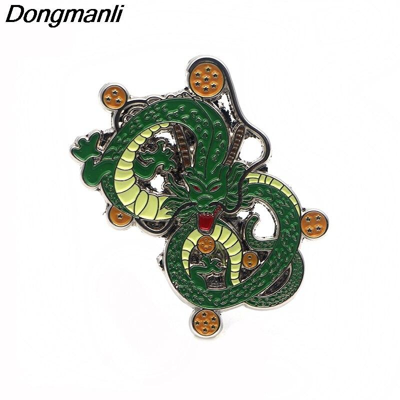 P2401 Dongmanli 20pcs lot wholesale Anime Dragon Ball Shenron Metal enamel Hat pin Brooches Dragon Bag