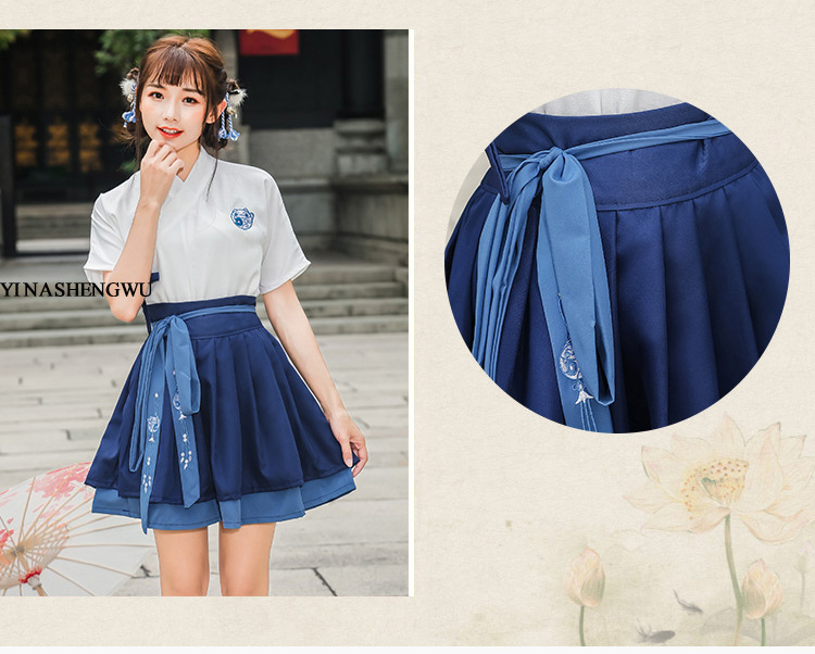 Hanfu Costume Dress Women Improved Hanfu Daily Short Sleeve Hanfu Embroidered Crossdresses Costumes Han Elements Student Set 5