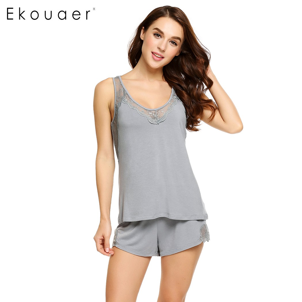 Ekouaer Women Pajamas Set Sleeveless Tank Top and Elastic Waist Shorts Lounge Sleepwear Solid Casual Nightgown Home Clothing