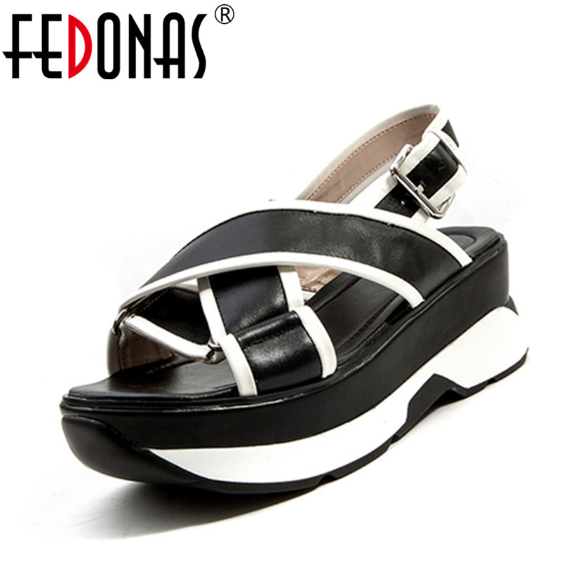 FEDONAS 2018 Brand Women Sandals Summer Open Toe Platform Sandalias Ladies Gladiator Wedges Heels Sandals Female Shoes Woman vtota 2017 fashion wedges women sandals bling summer shoes woman platform sandalias soft leather open toe casual women shoes r25