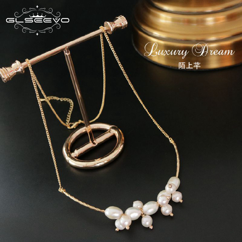 GLSEEVO Natural Fresh Water Pearl Necklace & Pendant For Women Chain Necklaces Luxury Fine Jewelry Collier Sautoir Long GN0049 glseevo natural fresh water pearl chokers necklace for women handmade necklaces luxury fine jewelry gargantilha kolye gn0047