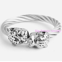 59mm Inner Huge 89g Cool Boy S Wrist Jewelry 316L Stainless Steel Wire Unique Silver Leopard