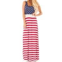 Étoiles et Rayures de femmes Maxi Robe Sans Manches USA Jour de L'indépendance Drapeau Américain Motif Robe Longue Détente Réservoir Robe