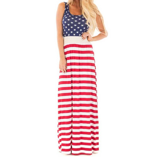 Women's Stars and Stripes Maxi Dress Sleeveless USA Independence Day Cool Tank Dress Pattern