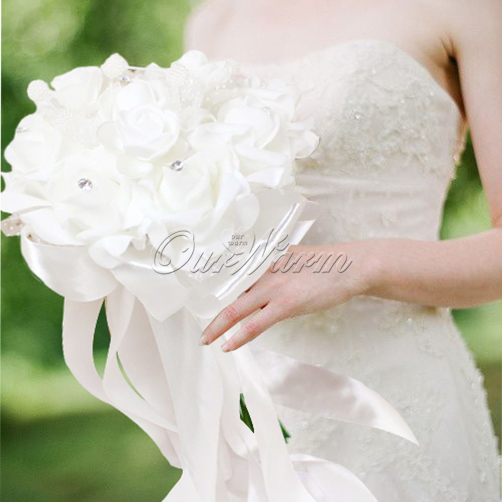 Silk flower distributors promotion shop for promotional silk white 3015cm wedding bridal bridesmaid bouquet beaded brooch long silk artificial flower foam rhinestone dhlflorist Choice Image