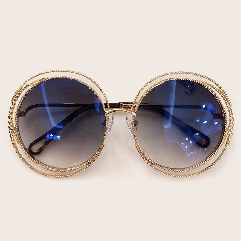 Image 2 - New Style Round Sunglasses Women Luxury Brand Designer Big Metal Frame Sun Glasses Female Shades 2019 Fashion Outdoor Eyewear-in Women's Sunglasses from Apparel Accessories