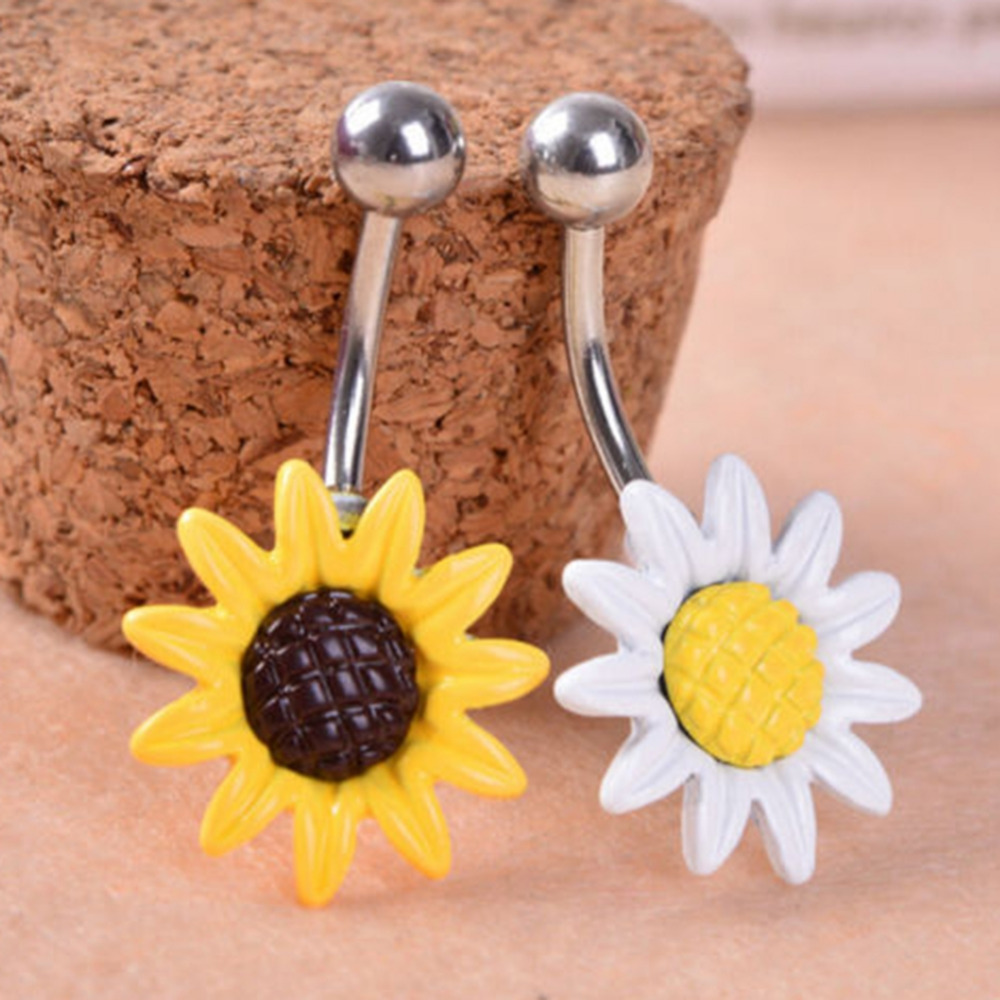 White/Yellow Sunflower Flower Surgical Steel Belly Button Ring Navel Nail Sexy Piercing Body Jewelry