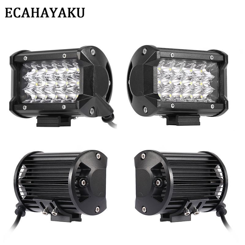 ECAHAYAKU 4 Pcs 5 inch LED Light Bar 54W Spot Beam IP68 Tri-row Led Work Light Bar Offroad for ATV SUV Work Light Trucks 12V 24V