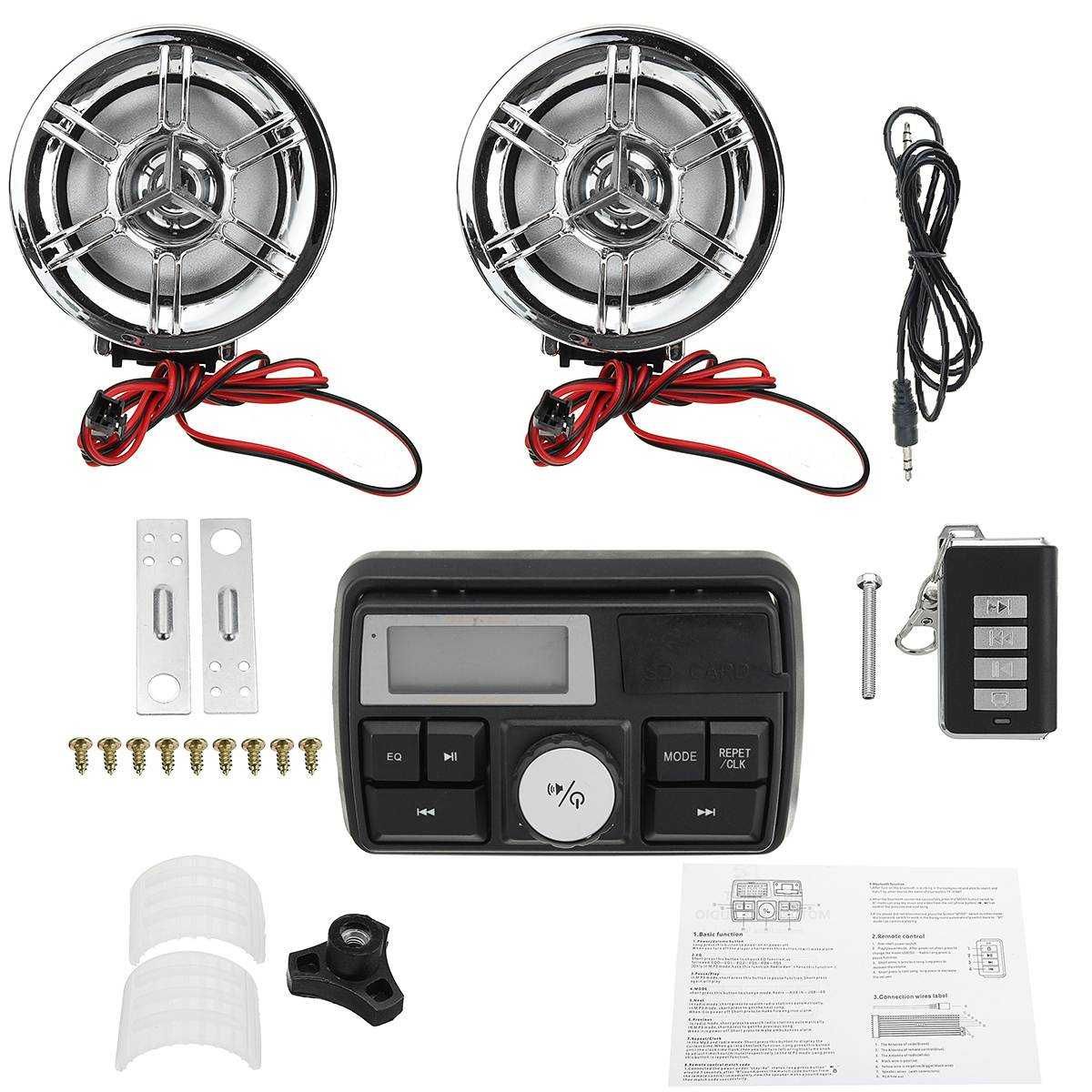 Bluetooth SD FM Radio moto ATV guidon système Audio USB Radio stéréo MP3 haut-parleurs pour Kawasaki/Honda/Suzuki