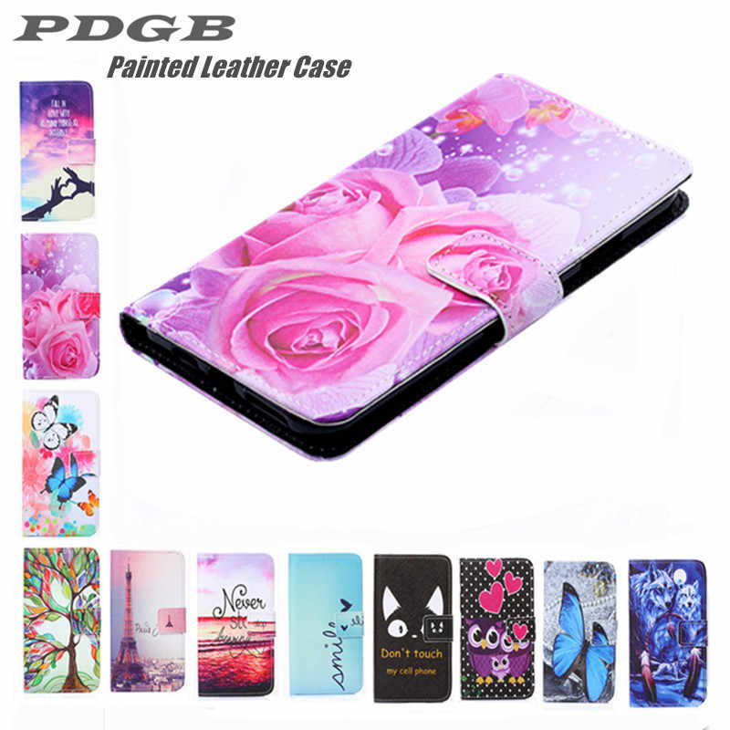 PDGB Painted Wallet Leather Case for Doogee Y8 2019 BL5000 BL7000 X20 X70 Y6 Color Flower butterfly Cat Wolf Cover Flip Case