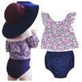 Estilo flor floral do bebê meninas roupas set 2017 verão t camisa topos + pp calças 2 pcs crianças roupas de bebê roupas da menina da criança conjuntos