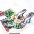 НАМ SZ5-10 НОВЫЙ Лакированной Кожи Аллигатора Зерна Каблуки Женщин Насос Пром Платье Обувь Sexy Острым Носом Сандалии