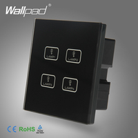 Intelligent 4 Gang Touch New Design Wallpad Black Tempred Glass Switch LED Light 4 Gang Touch