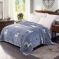 Soft Warm Coral Fleece Plaid Blankets Deer Penguin Panda Print Winter Sofa Cover 12 Designs Twin Queen Size Blanket On The Bed