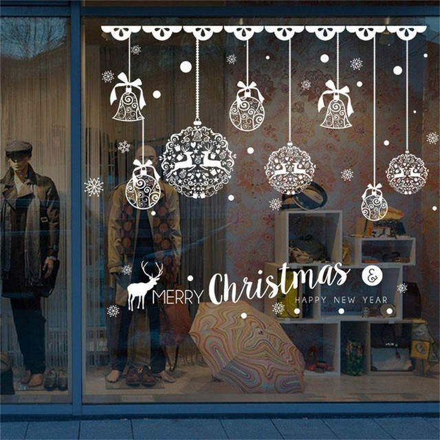 DIY White Xmas Deer Christmas Wall Stickers Window Glass Festival Decals Murals New Year Christmas Decorations for Home decor