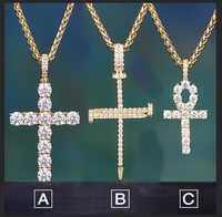 """Collier pendentif croix TOPGRILLZ Hip Hop Ankh Micro pavé AAAA + zircon cubique Style égyptien 24 """"30"""" collier chaîne"""
