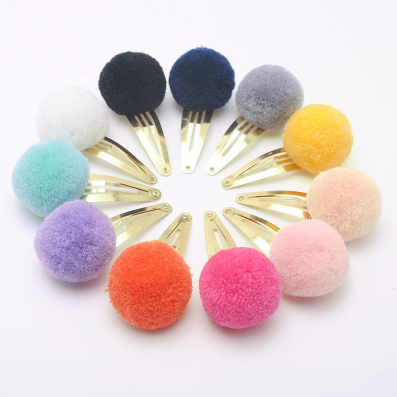 Cute Girls Ponytail Holders Kids Hair Clips Elastic Hair Bands Children Ball Hair Tie Pom Pom Elastic Hair Gum Rope Accessories